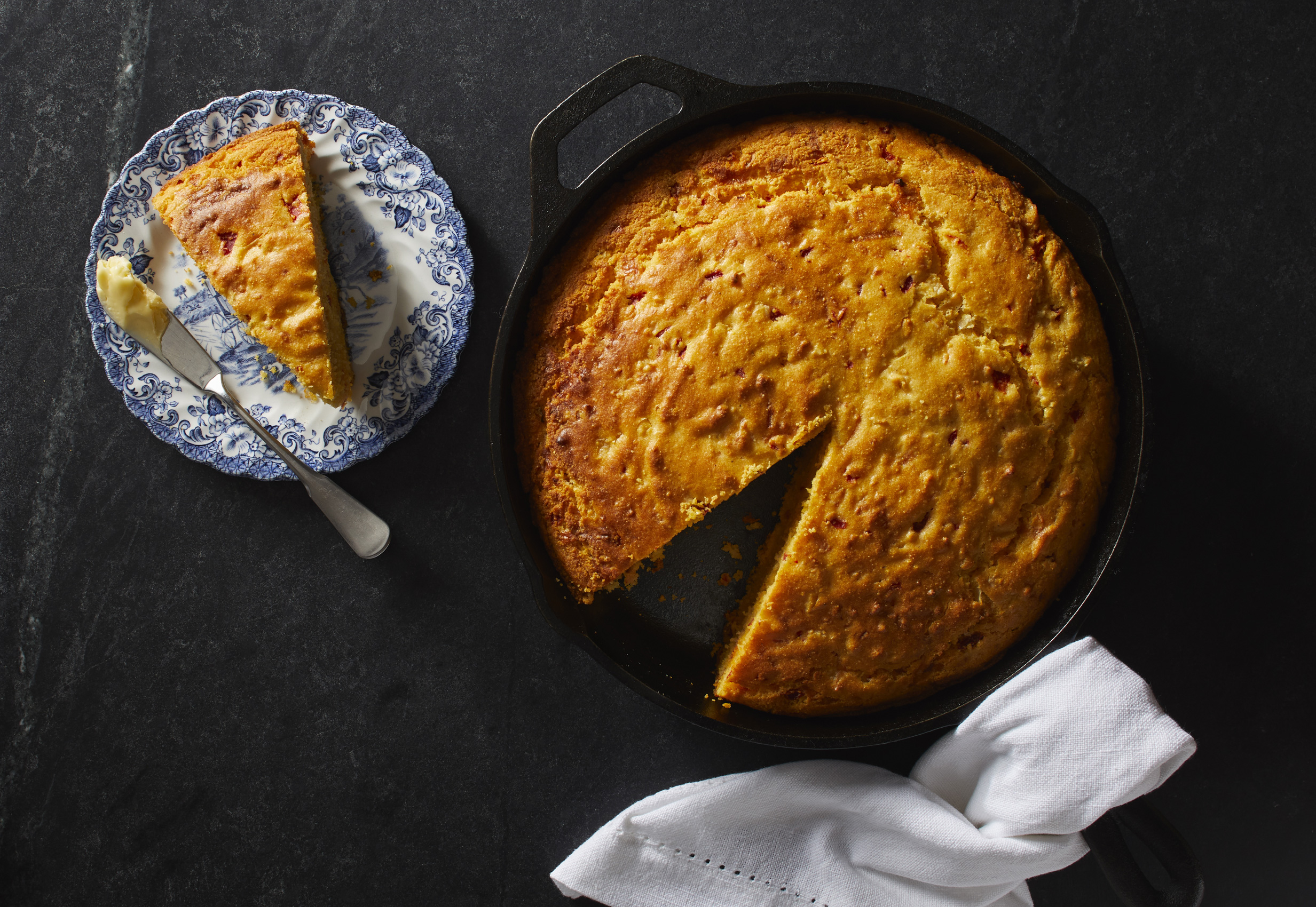 Red Pepper and Monterrey Jack Corn Bread photo by Chris Kessler Photography.  Chris Kessler is a freelance Photographer based in Milwaukee Wisconsin. Specializing in Food photography and portraiture.